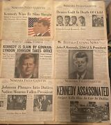 Lot Of 24 Vintage 1960's Jfk And Rfk, Lbj And Oswald Newspapers And Articles.