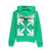 Off-white C/o Virgil Abloh Chain Link Fence Arrow Logo Hoodie Green Size M