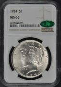 1924 Peace Dollar S1 Ngc Ms66 Cac