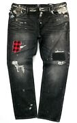 Nwt Prps Menand039s W42 L34 Repaired Demon Slim Fit Patched Stitched Black Jeans 248