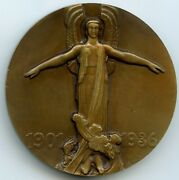 France Aviation Jean Mermoz French Pilot Bronze Art Deco Medal By Guiraud 58mm