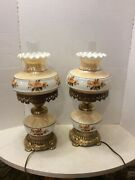 Pair Vintage Hurricane Gwtw Parlor Lamps Ef And Ef 1975 3 Way Lamp