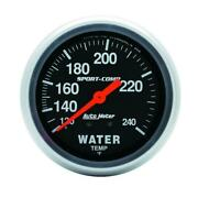 Autometer 3433 Gauge, Water Temp, 2 5/8 , 120-240 Degrees F, Mechanical, 12ft.