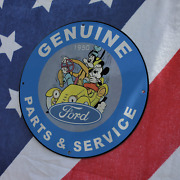 Vintage 1950 Ford Genuine Parts And Service And039mickey Mouseand039 Porcelain Gas-oil Sign