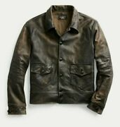 Rrl Double Rl Sold Out Newsboy Leather Jacket Size M - New