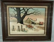 Original H Hargrove Barn In Winter Oil Painting On Canvas Signed