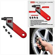 Accutire Ms-4021r Digital Tire Pressure Gauge With 4 Valve Caps New Free Ship