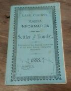 Antique 1888 Lake County, Florida Information Booklet Settler And Tourist Guide