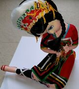 Antique Vtg 1960and039s Chinese National Ethnic Doll Long Beaded Black Hair Costume