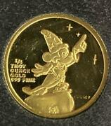 1987 Mickeys Luck Proof Gold Coin Disney Mickey Mouse 1/4 Troy Oz Limited Rare