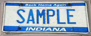 Collectible License Plate Sample Sam Indiana Back Home Again Indianapolis 1990