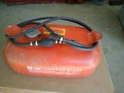 Vintage Omc 3 Gallon Metal Outboard Boat Motor Gas Can W/ Hose And Pump