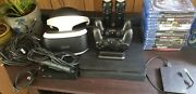 1 Tb Ps4 Vr Headset Bundle W/ Games, Controllers, Charging Dock, And 1 Tb E/s