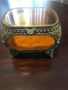 Vintage Gold Filigree With Beveled Glass And Footed Jewelry Vanity Box/casket