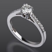 Lady Diamond Ring Solitaire Accented 1 Carats Round Channel Set 18k White Gold