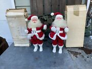 Two Vintage Harold Gale Santa Claus Christmas Figures Red Suit 14 Tall Orig Box