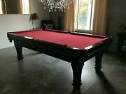 Pool Table Spencer Marston Beautiful Red Felt Black Wood Excellent Cond