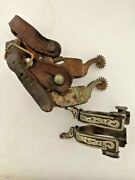 Antique Stamped Star Biermann Steel Cowboy Spurs Collectible With Leather Straps