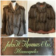 Vintage John W. Thomas And Co. Minneapolis 1950and039s-60and039s Light Brown Fur Coat Cape