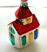 Czech Republic Silver And Red Glass Church Christmas Ornament