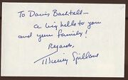 Mickey Spillane Signed Index Card Autographed Auto From 1993 Mike Hammer Author