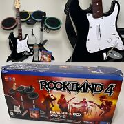 Ps4 Ps5 Rock Band 4 Bluetooth Wireless Fender Stratocaster Guitar Drum Bundle 🎙