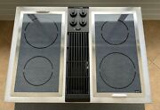 """Jenn-air 30"""" Electric Downdraft Cooktop Stainless And Radiant Glass W/new Grill"""