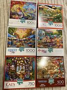 Lot Of 6 - 500, 750, 1000 Piece Jigsaw Puzzles, Buffalo Games New And Sealed