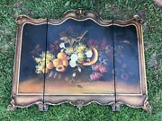 Vintage Victorian Wood Fireplace Screen Stand Hand Painted Floral