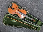 Antique Full-size Violin Golden Strad Bow And Case Labelled Wolff Bros No557 1888