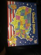 Mb Puzzle Map Of The United States New Sealed Milton Bradley 1993 Rand Mcnally