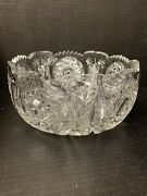 Crystal Clear Glass Serving Bowl Heavy Great For Fruit 8 Inch Dia 3.5 In Tall