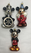 Lot Of 3 Disney Mickey Mouse Through The Years Mouth Blown Glass Ornaments