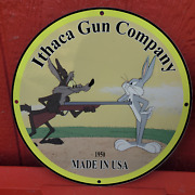 Vintage 1950 Ithaca Gun Company And039and039bugs Bunnyand039and039 Porcelain Gas And Oil Pump Sign