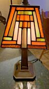 Vtg Style Stained Glass Accent Lamp Bedroom Desk Mbc
