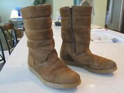 Vintage Men's Sz 10 M Hush Puppies Suede And Shearling Boots 15317 Rare Euc