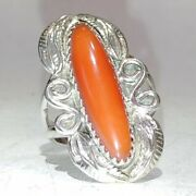 Signed-k O Navajo Sterling Silver 925 And Freeform Red Coral Ring Size 5.5 🐾🐾