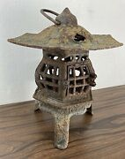 Vintage Cast Iron Pagoda Lantern Lamp Candle Holder 3 Roof Top Hearts 11+ Tall