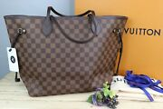 Rare Louis Vuitton Neverfull Mm, Damier Ebene With Rose B. Pink Sold Out