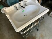 Vintage Nos Perrin And Rowe Victorian Sink With Stand Edwardian Faucet Set