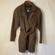 Vintage Wilsonand039s Size Small Womenand039s Brown 100 Leather Belted Spy Trench Coat