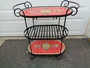 Mid-century Modern Wrought Iron And Red Tile Gold Designs Serving Cart  Revised