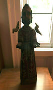 St. Francis 25 1/2 Wooden Hand Carved Guatemalan Santo Statue W/ Birds --exc++