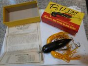 Pandv Bait Company Vintage Musky Size Red Wing Black Bird W/correct Box And Paper