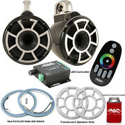 Wet Sounds Rev10b-fc Fixed Clamp Tower Speakers With Rgb Led Rings Andndash Black