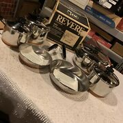 Vintage 10 Piece Revere Cookware Stainless Steel With Copper Bottom- Set 1400 Wb