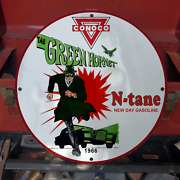 Vintage 1966 Conoco N-tane Gasoline 'the Green Hornet' Porcelain Gas And Oil Sign