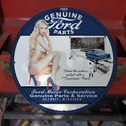 Vintage 1943 Ford Motor Corp. Genuine Parts And Service Porcelain Gas And Oil Sign