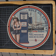 Vintage Gulf Super Marine Oil Company Porcelain Gas And Oil Metal Sign