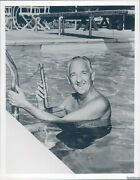 Photo Bill Henry Mbs Newscaster News Swimming Pool Man 7x9 Vintage Image